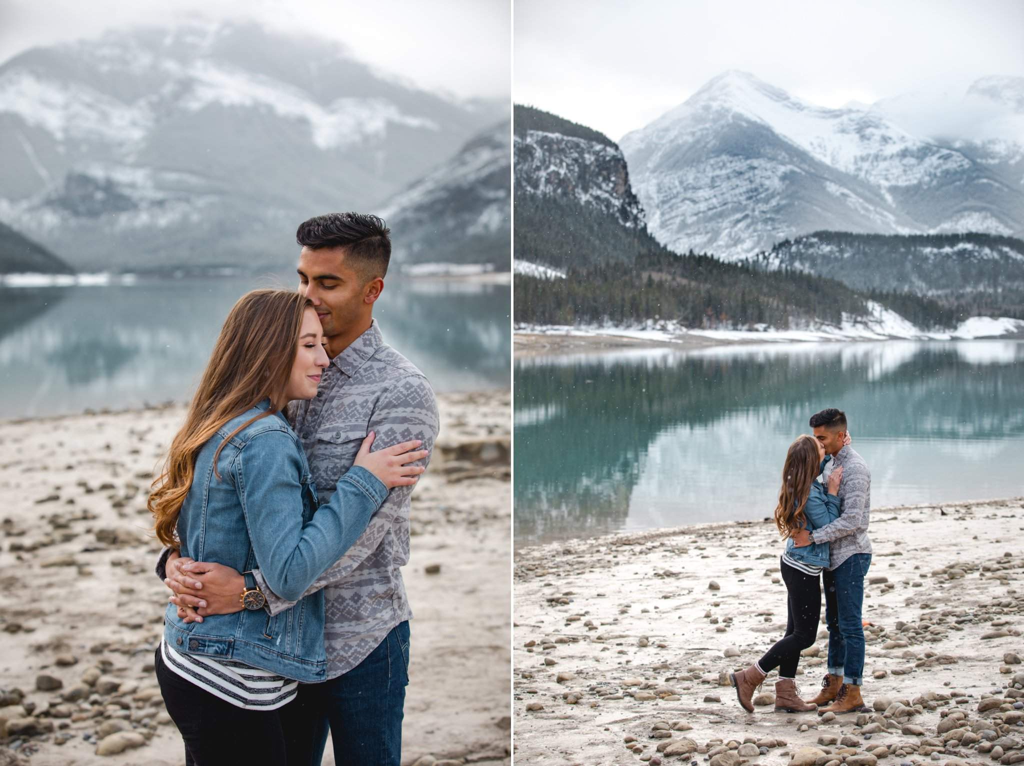 Ashley Daphne Photography,Banff engagement photographer,Banff wedding photographer,Barrier Lake,Calgary Alberta Photographer,Calgary engagement photographer,Calgary wedding photographer,Canmore engagement photographer,Canmore wedding photographer,Kananaskis photographer,Kananaskis wedding photographer,Rocky Mountain wedding,calgary couple photographer,calgary family photographer,lake,mountain couple photos,mountains,rocky mountains,snowfall,travel alberta,winter,winter engagement photos,
