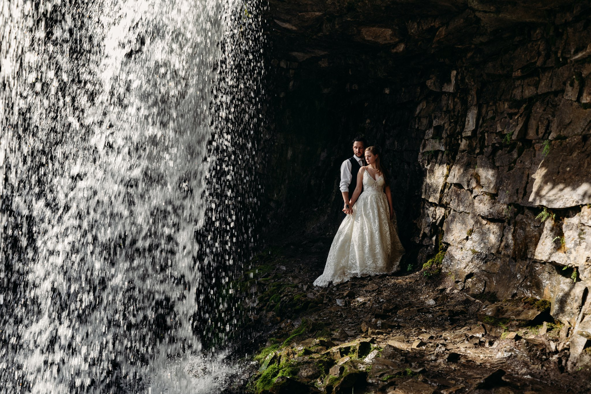 Bride and Groom adventure photography wedding photography water fall troll falls