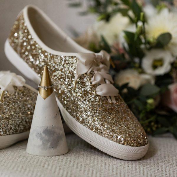 Kate Spade gold wedding shoes